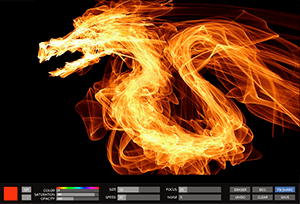 Drawing Fire<br><br>Editor simulates drawing flame. Live brush constantly and randomly draws an abstract image